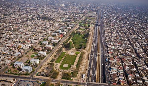 Vista aérea Parque La Bandera - San Ramón Chile