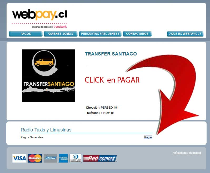 Pagamento via WebPay step 1